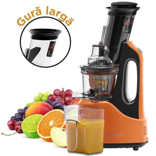 Storcator de fructe si legume cu melc, Oursson JM7005/OR, 240 W, recipient suc 1 L, autocuratare, portocaliu