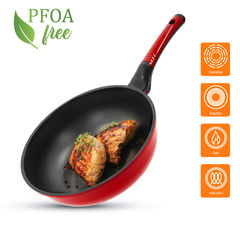 Tigaie Wok Diamond OURSSON PW2800D/RD, 28 cm